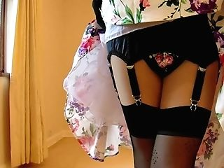 1950's Flower Sundress And Black Underwear
