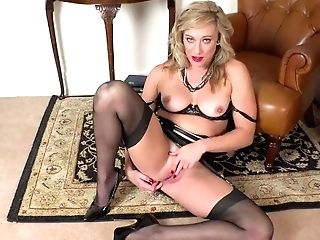Horny Blonde Axajay Finger Fucks Her Humid Slit In Girdle And Antique Nylons